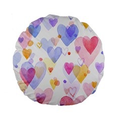 Watercolor cute hearts background Standard 15  Premium Flano Round Cushions