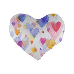 Watercolor cute hearts background Standard 16  Premium Flano Heart Shape Cushions