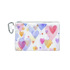 Watercolor cute hearts background Canvas Cosmetic Bag (S)