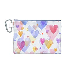 Watercolor cute hearts background Canvas Cosmetic Bag (M)