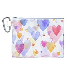Watercolor cute hearts background Canvas Cosmetic Bag (L)