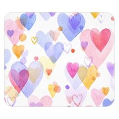 Watercolor cute hearts background Double Sided Flano Blanket (Small)