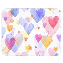 Watercolor cute hearts background Double Sided Flano Blanket (Medium)