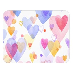 Watercolor cute hearts background Double Sided Flano Blanket (Large)