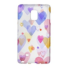 Watercolor cute hearts background Galaxy Note Edge
