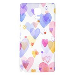 Watercolor cute hearts background Galaxy Note 4 Back Case