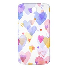 Watercolor cute hearts background Samsung Galaxy Mega I9200 Hardshell Back Case
