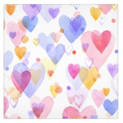 Watercolor cute hearts background Large Satin Scarf (Square)