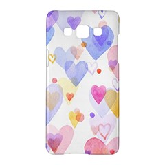 Watercolor cute hearts background Samsung Galaxy A5 Hardshell Case