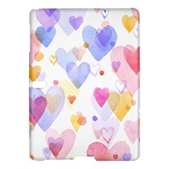 Watercolor cute hearts background Samsung Galaxy Tab S (10.5 ) Hardshell Case