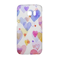 Watercolor cute hearts background Galaxy S6 Edge
