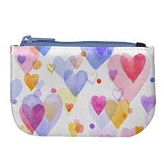 Watercolor cute hearts background Large Coin Purse