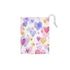 Watercolor cute hearts background Drawstring Pouches (XS)