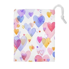 Watercolor cute hearts background Drawstring Pouches (Extra Large)