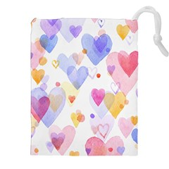Watercolor cute hearts background Drawstring Pouches (XXL)
