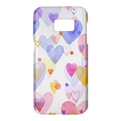 Watercolor cute hearts background Samsung Galaxy S7 Hardshell Case