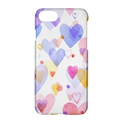 Watercolor cute hearts background Apple iPhone 7 Hardshell Case