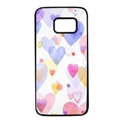 Watercolor cute hearts background Samsung Galaxy S7 Black Seamless Case