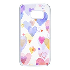 Watercolor cute hearts background Samsung Galaxy S7 White Seamless Case
