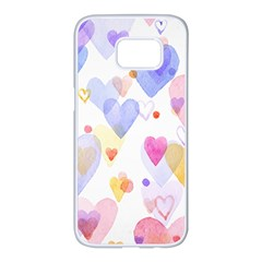 Watercolor cute hearts background Samsung Galaxy S7 edge White Seamless Case