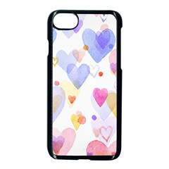 Watercolor cute hearts background Apple iPhone 7 Seamless Case (Black)