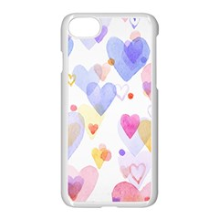 Watercolor cute hearts background Apple iPhone 7 Seamless Case (White)