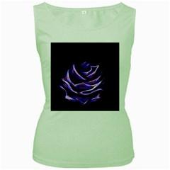 Rose Flower Design Nature Blossom Women s Green Tank Top