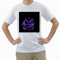 Rose Flower Design Nature Blossom Men s T-Shirt (White) (Two Sided)