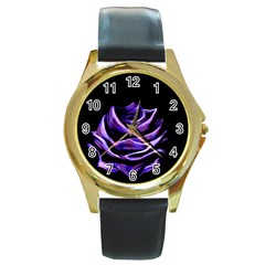 Rose Flower Design Nature Blossom Round Gold Metal Watch