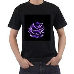 Rose Flower Design Nature Blossom Men s T-Shirt (Black) (Two Sided)