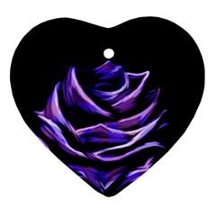Rose Flower Design Nature Blossom Heart Ornament (Two Sides)