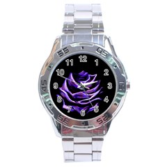 Rose Flower Design Nature Blossom Stainless Steel Analogue Watch