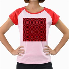 Abstract Background Red Black Women s Cap Sleeve T Shirt