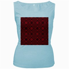 Abstract Background Red Black Women s Baby Blue Tank Top