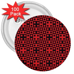 Abstract Background Red Black 3  Buttons (100 Pack)