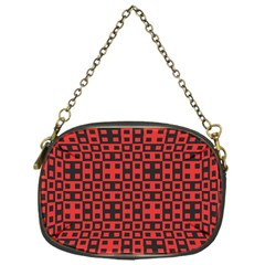 Abstract Background Red Black Chain Purses (one Side)