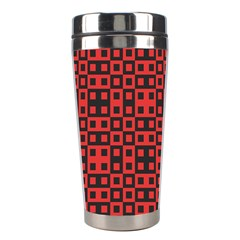 Abstract Background Red Black Stainless Steel Travel Tumblers