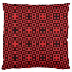 Abstract Background Red Black Large Flano Cushion Case (One Side)