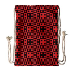 Abstract Background Red Black Drawstring Bag (large)