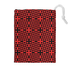 Abstract Background Red Black Drawstring Pouches (Extra Large)