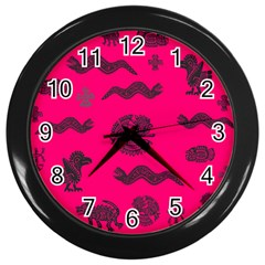 Aztecs Pattern Wall Clocks (black)