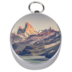 Fitz Roy And Poincenot Mountains Lake View   Patagonia Silver Compasses