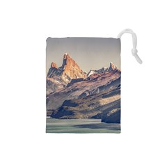 Fitz Roy And Poincenot Mountains Lake View   Patagonia Drawstring Pouches (Small)