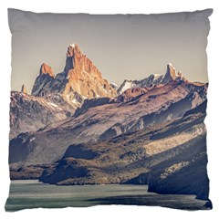 Fitz Roy And Poincenot Mountains Lake View   Patagonia Large Flano Cushion Case (Two Sides)