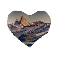 Fitz Roy And Poincenot Mountains Lake View   Patagonia Standard 16  Premium Flano Heart Shape Cushions