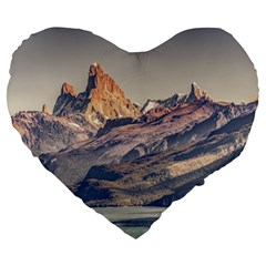 Fitz Roy And Poincenot Mountains Lake View   Patagonia Large 19  Premium Flano Heart Shape Cushions