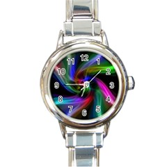 Abstract Art Color Design Lines Round Italian Charm Watch