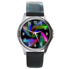 Abstract Art Color Design Lines Round Metal Watch