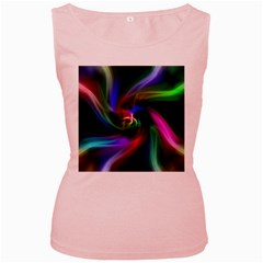 Abstract Art Color Design Lines Women s Pink Tank Top