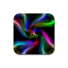 Abstract Art Color Design Lines Rubber Square Coaster (4 Pack)
